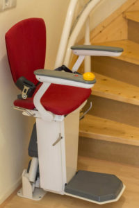 This is a stair lift in a home